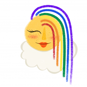 Seattle Designer Christina Joan Rainbow and Sunshine Illustration