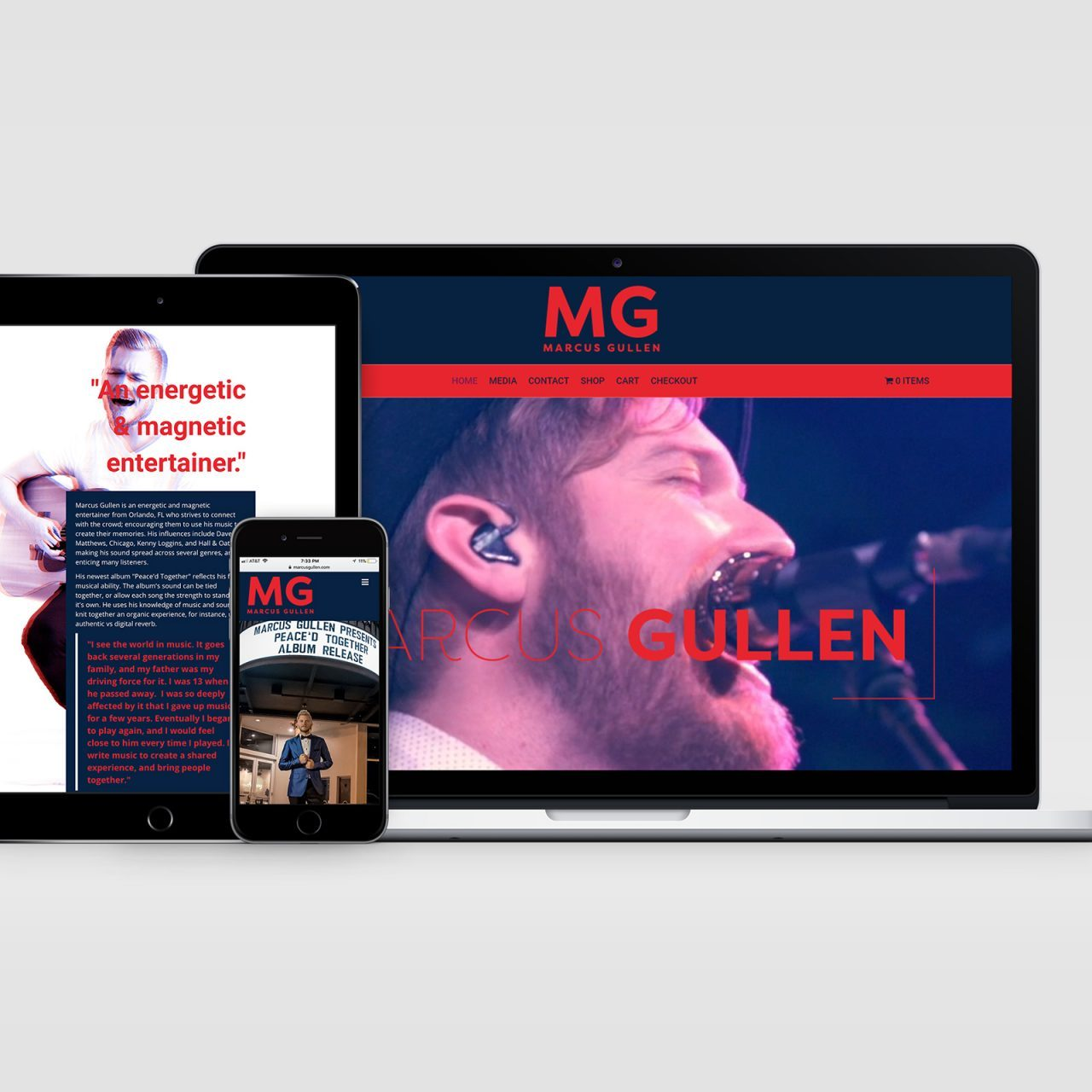 Seattle Designer features Orlando Musician Marcus Gullen website display